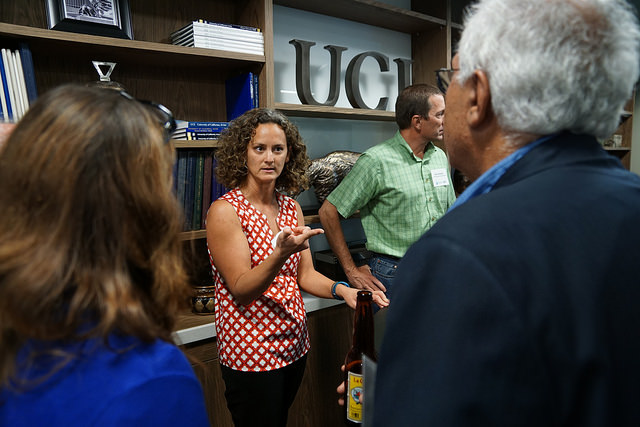 Abby in conversation at a Water UCI Science Team Reception